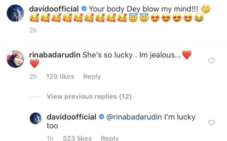 Davido's reacts as fan says Chioma is lucky to have him