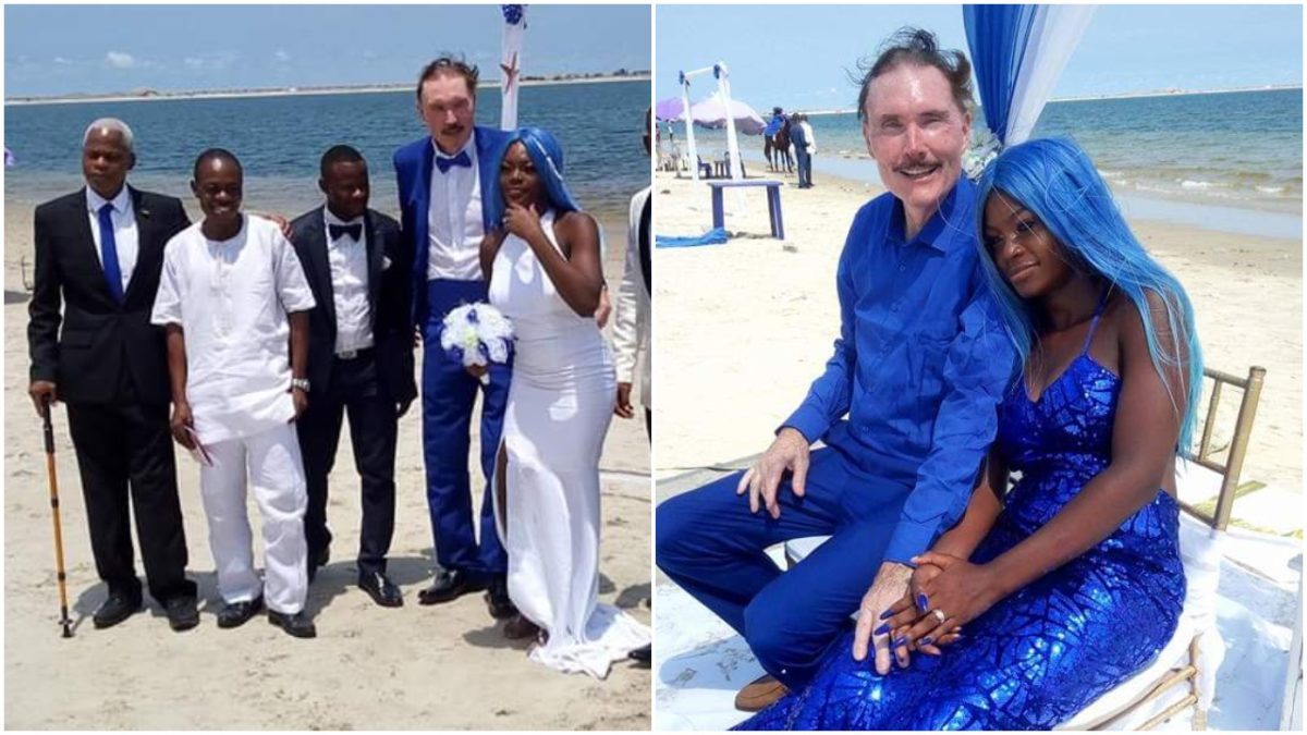 21-year-old Nigerian Lady Weds 65-year-old White Man At Oniru Beach