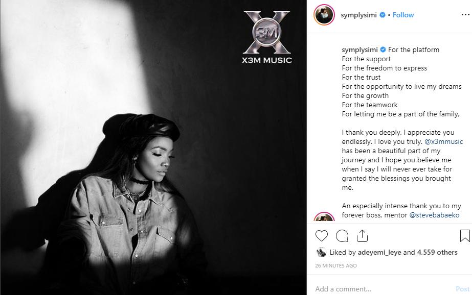 Simi confirms leaving X3M Music unclesuru 1