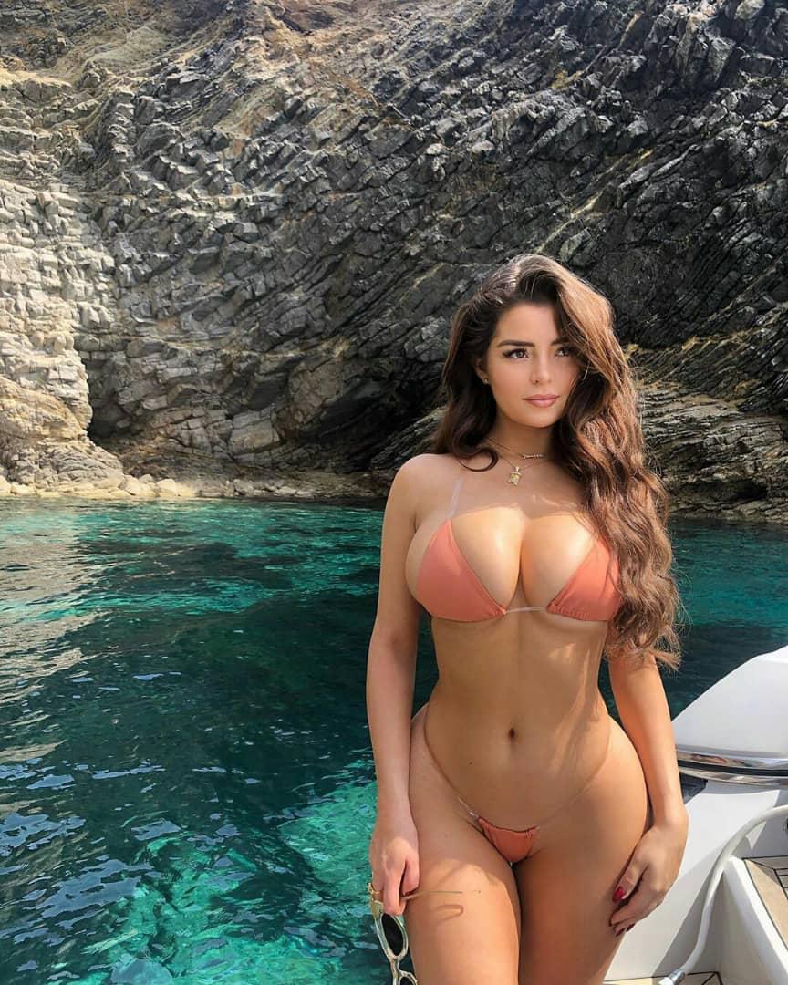 British model, Demi Rose flaunts her assets in a tiny bikini