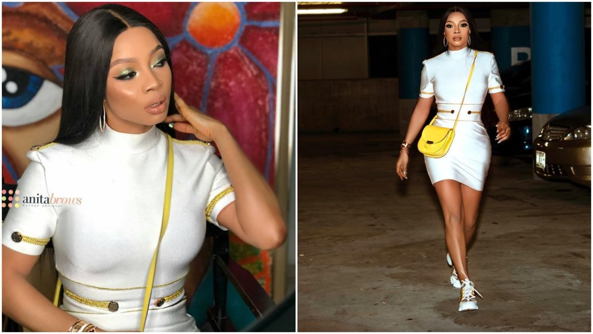 """Toke Makinwa Steps Out In White short Dress , says """"You Know I Walk The Talk"""""""