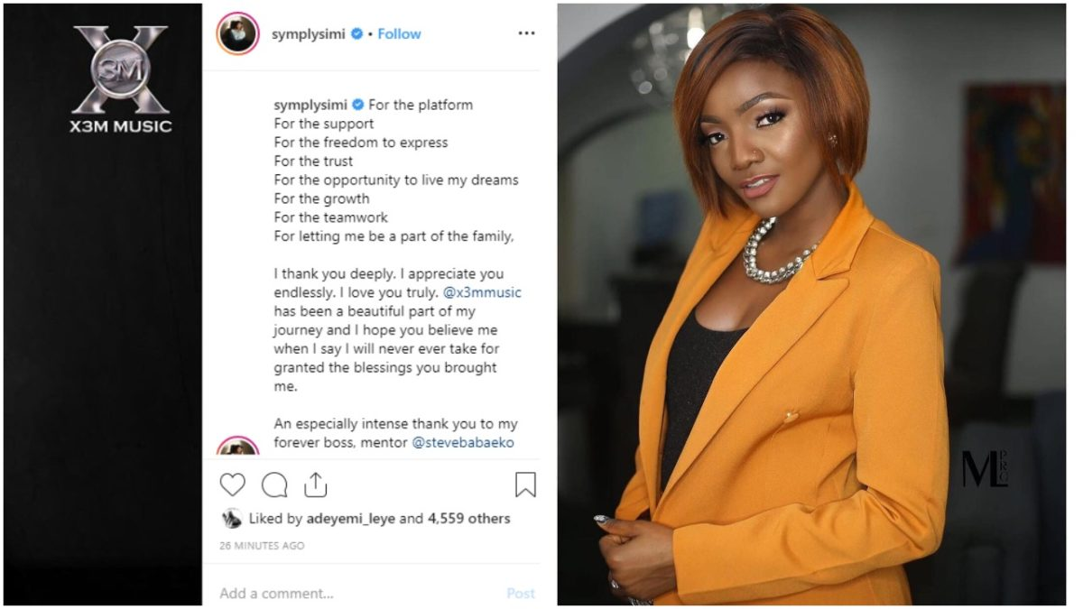 X3M artiste , Simi officially confirms she is leaving X3M Music