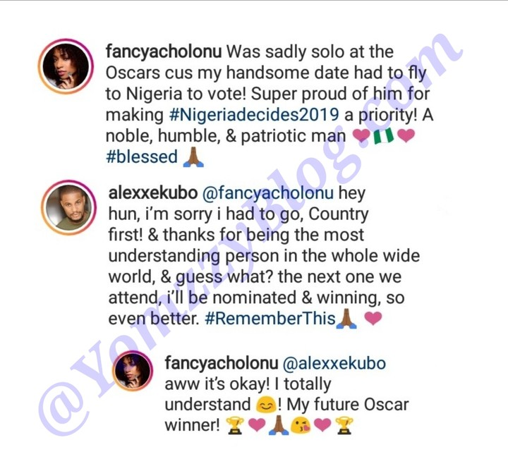 Alexx Ekubo & His Girlfriend Fancy Acholonu Gushes Over Each Other