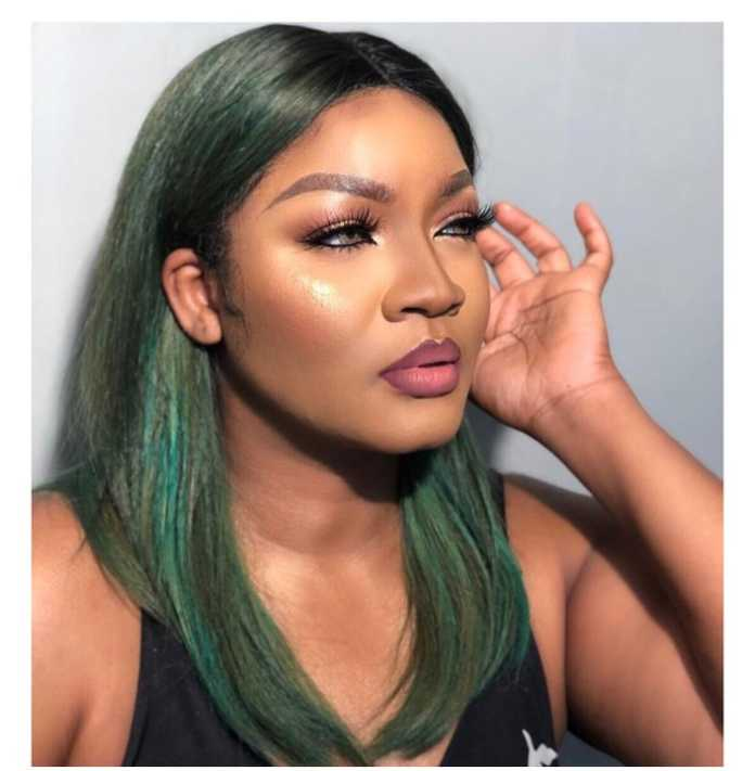 Actress Omotola Jalade Ekeinde breaks the internet in Stunning New Green Hair Do