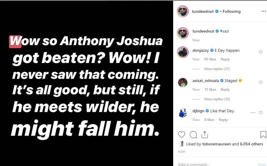 Nigerian celebrities react to Anthony Joshuas defeat to Andy Ruiz unclesuru 1