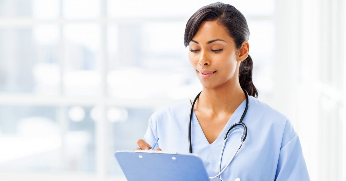 Nurse with chart GettyImages 495782243