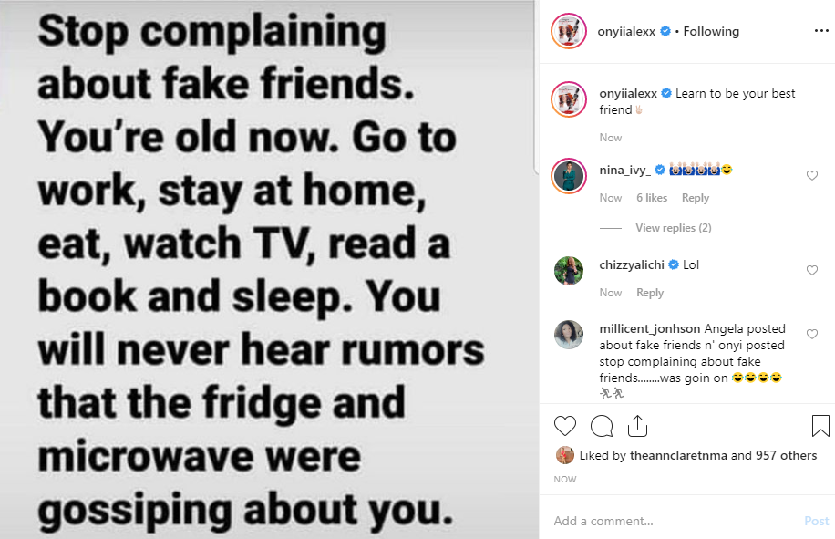 Actress Onyii Alex fires back at Angela Okorie, tell her to stop complaining
