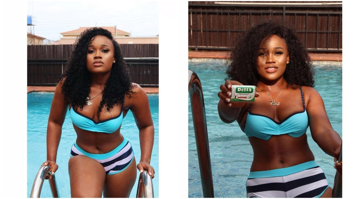 BBNaija Star, Cee-C Flaunts her small Breast in a Turquoise Swimsuit