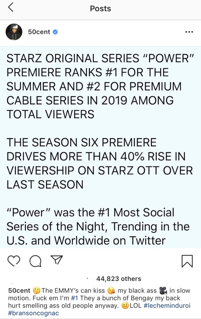 50 Cent blasts EMMYs Award after Power tops no. 1 on Social Series and Premier Ranks No. 1 for Summer