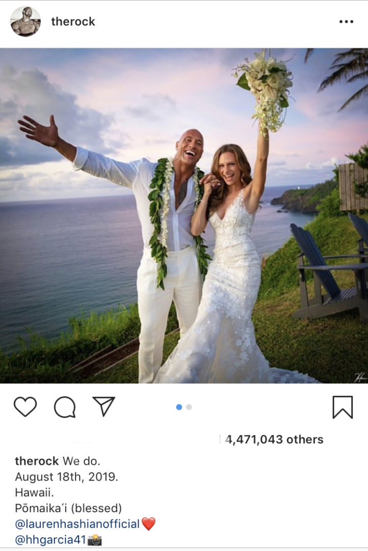 HURRAY: 'The Rock' marries long time girlfriend