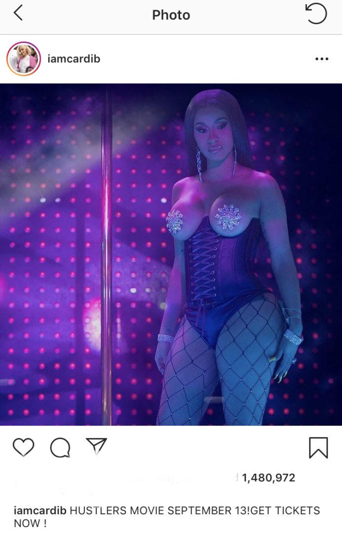 "Cardi B displays her b00bs for ""Hustlers"" movie promo"