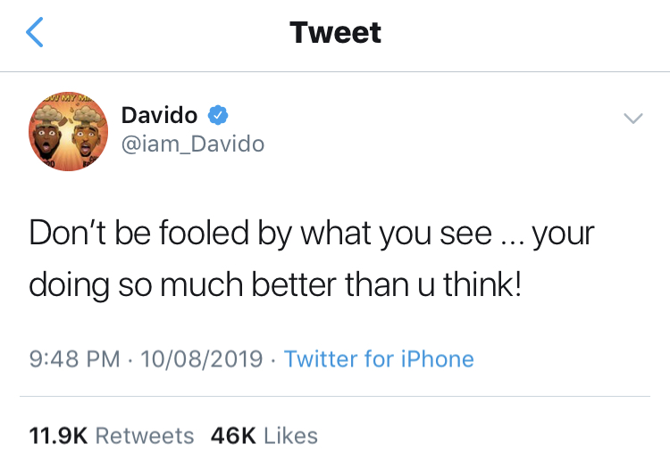 Most things on social media are just for clout, don't be fooled- Davido