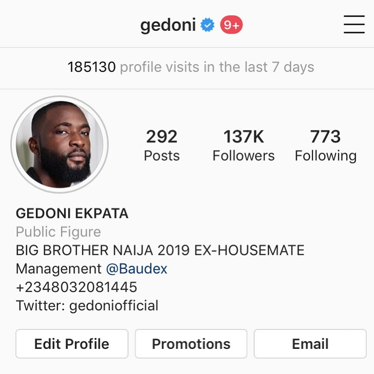 Gedoni becomes the First male after Mike