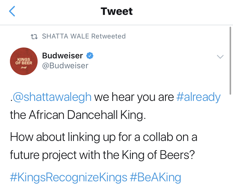 Stonebwoy expresses support to Shatta Wale's Budweiser deal