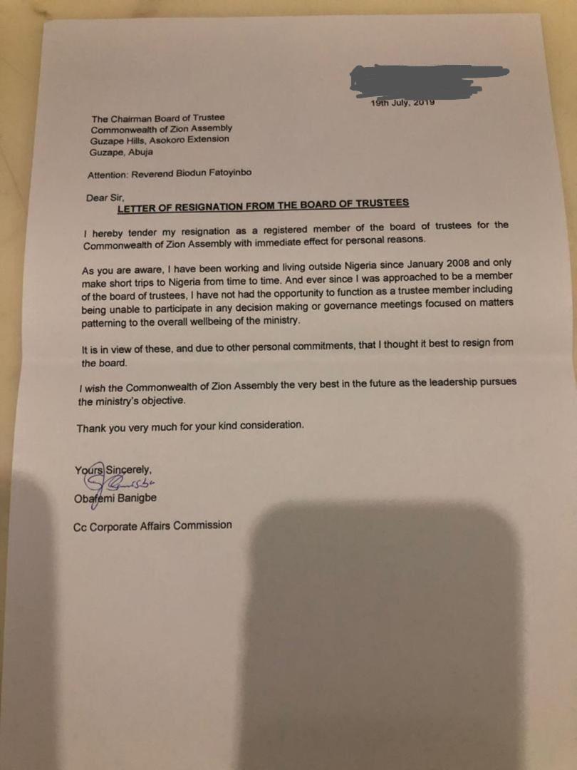 Banigbes resignation letter