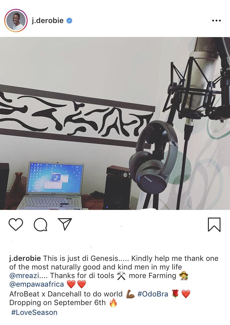 Mr Eazi gifts J. Derobie studio equipment ahead of his album release
