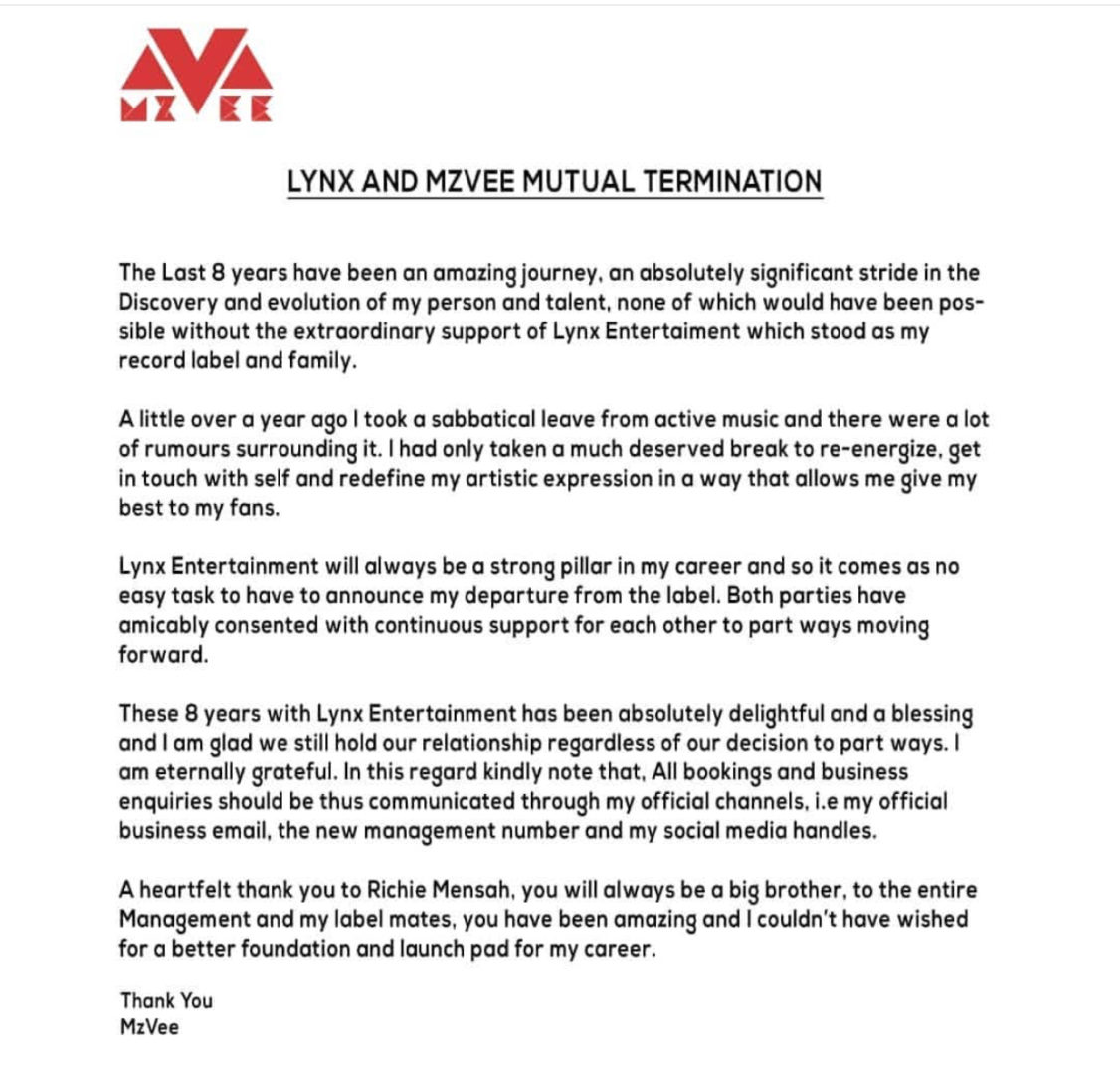 In a press release, she acknowledge Lynx Entertainment has contributed immensely towards her carrier and that they've got a great bond. Also she further reveals her departure from the record label was done amicably and at a consensus but not a some persons perceived it to be.