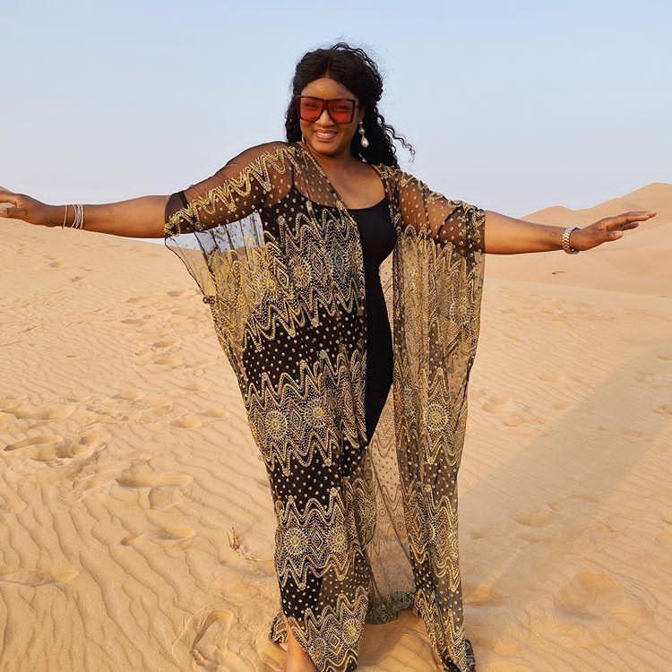 Omotola Dress like Indian Woman, enjoying time alone in the desert