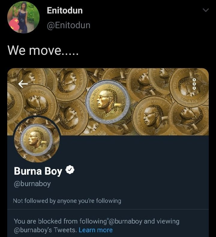Burna Boy blocks lady who reminded him of his old tweet lailasnews