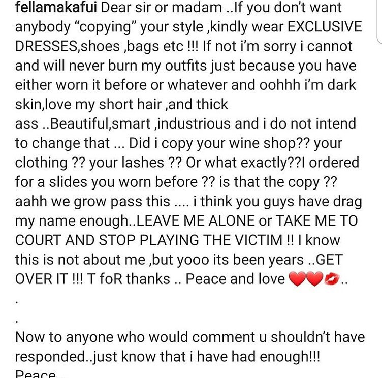 Fella Makafui Blast Sister Derby Over Dress Drama