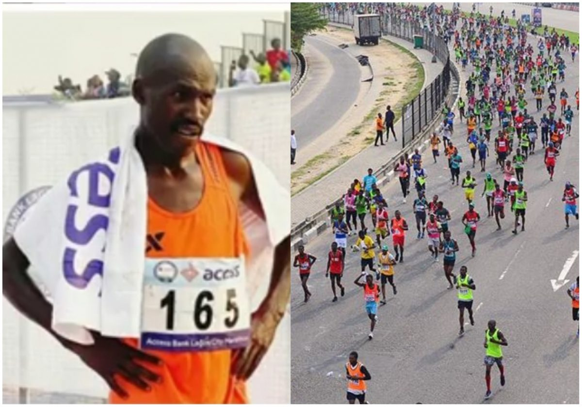 Moment David Barmasai crossed the line to win Run Lagos 2020 after 2 hours and 10 minutes