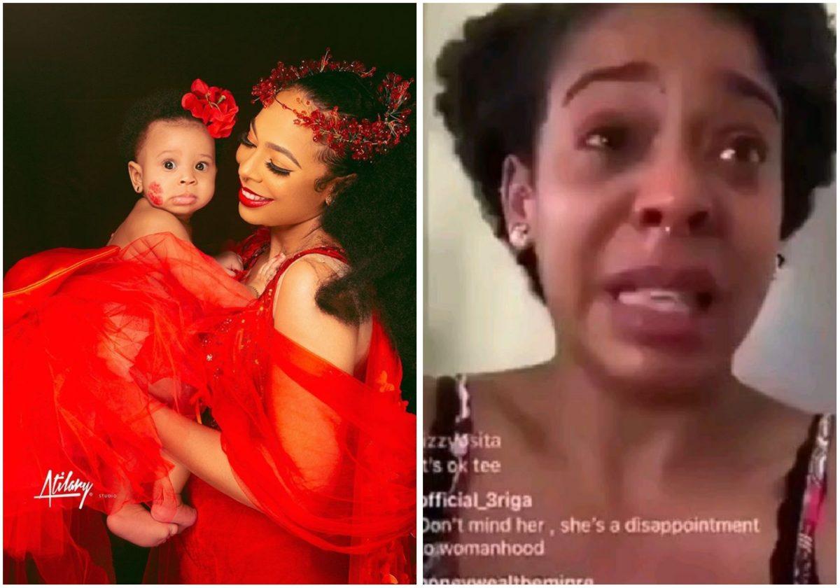 #BBNAIJA: TBoss rain curses on troll who said her child isn't special (Video)