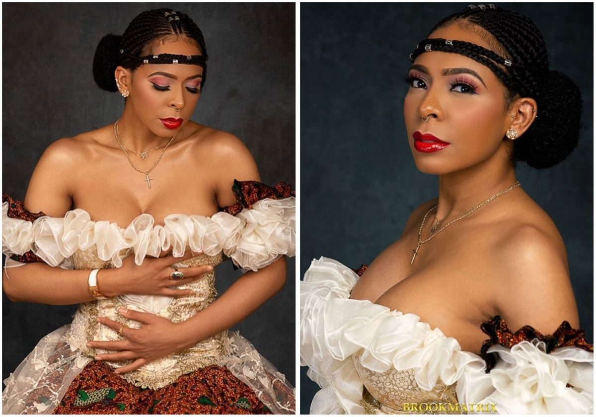 #BBNAIJA: Tboss flaunts major cleavages in a lovely two piece gown (Photos)
