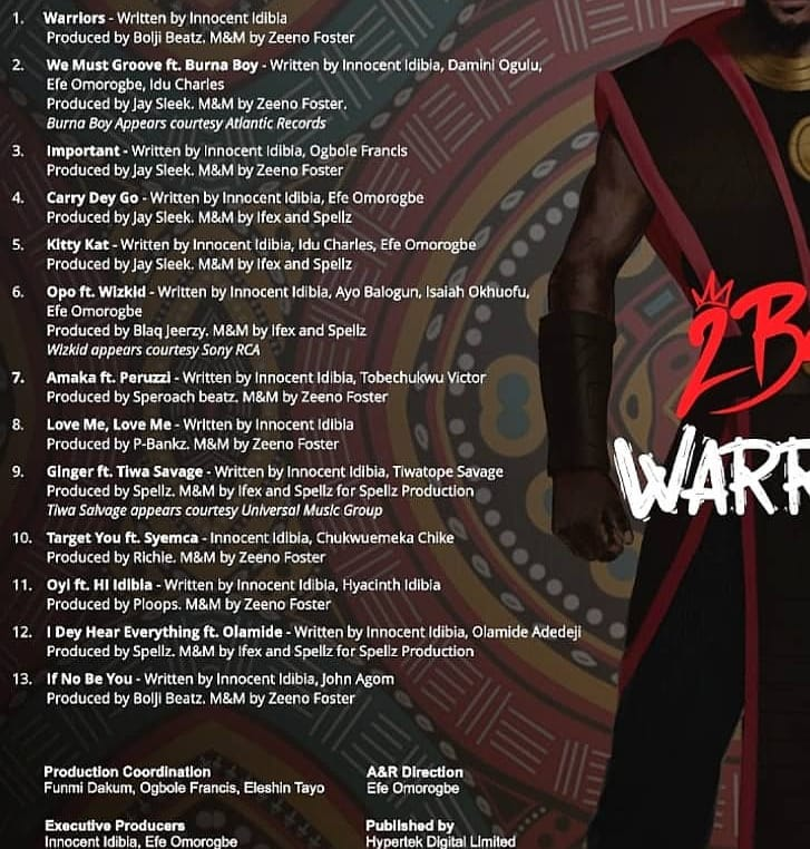 2face Idibia releases track list for album 'Warriors