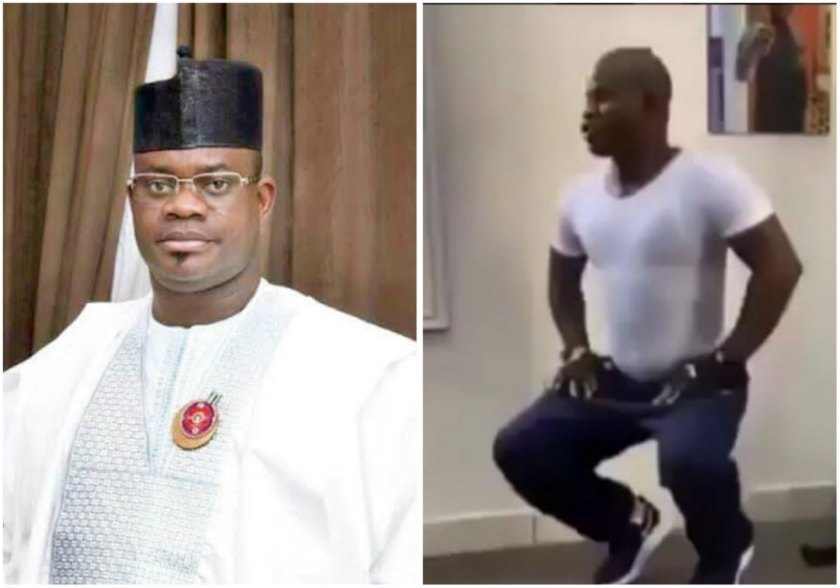 Yahaya Bello, Governor of Kogi state spotted at the gym keeping fit (Video)