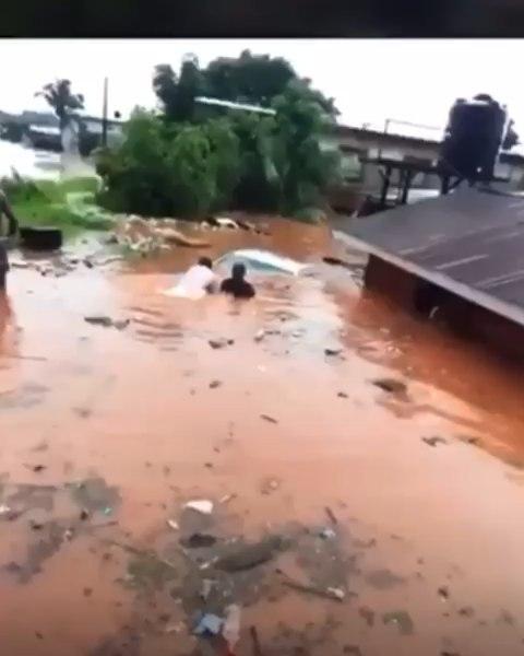 Heavy Flood swallows a car in the