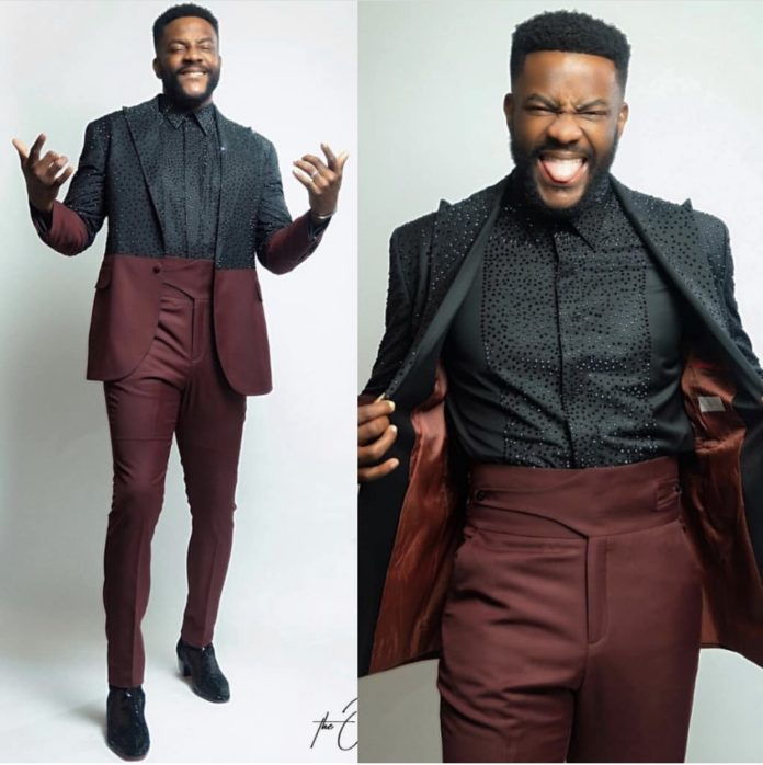 Ebuka came Through Dripping in a Stunning Maroon Black Suit