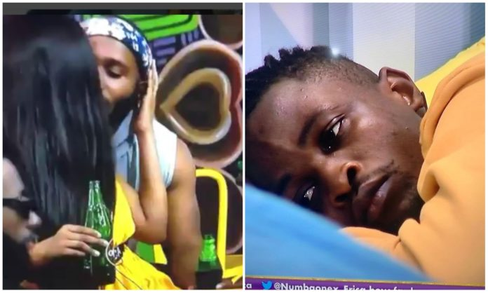 #BBNaija: Watch Erica disgrace Laycon by kissing Kiddwaya amidst Housemates (Video)