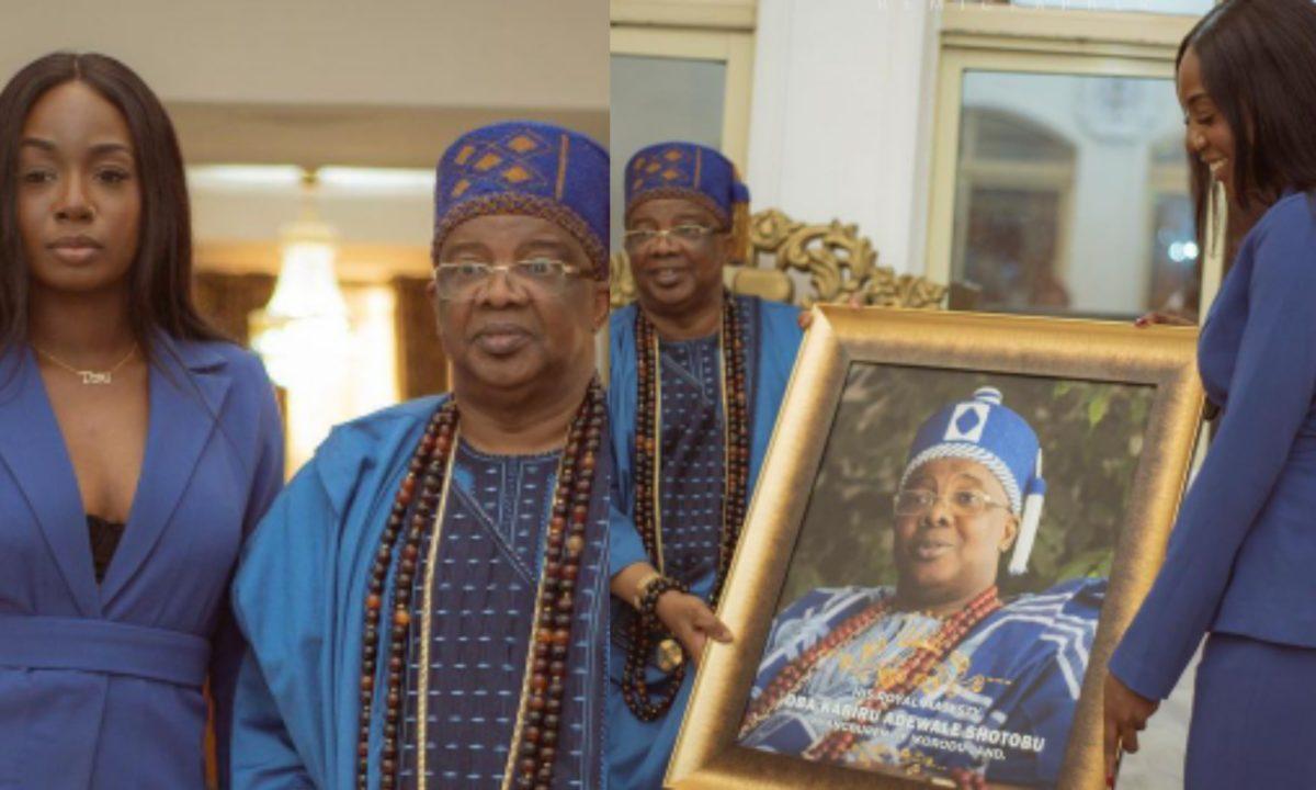 #BBNaija: Tolanibaj pays Oba Of Ikorodu a courtesy visit at his palace (Photos/Video)