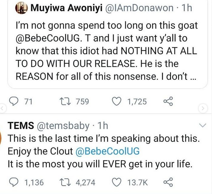 Avoid Nigeria for the rest of your life – Tems warn Ugandan singer Bebecool who allegedly instigated their arrest