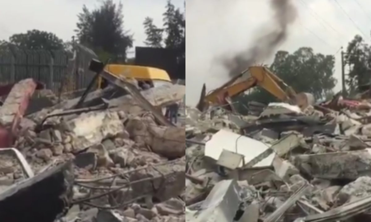 Lagos State Government demolishes Mobil Filling Station and Mr Biggs at Maryland for proposed BRT bus park (Video)
