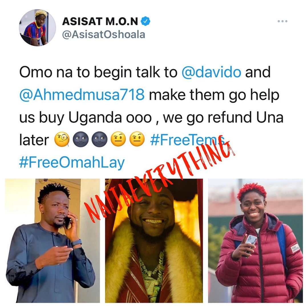 Asisat Oshoala urges Davido and Ahmad Musa to buy Uganda following Tems and Omah Lay arrest