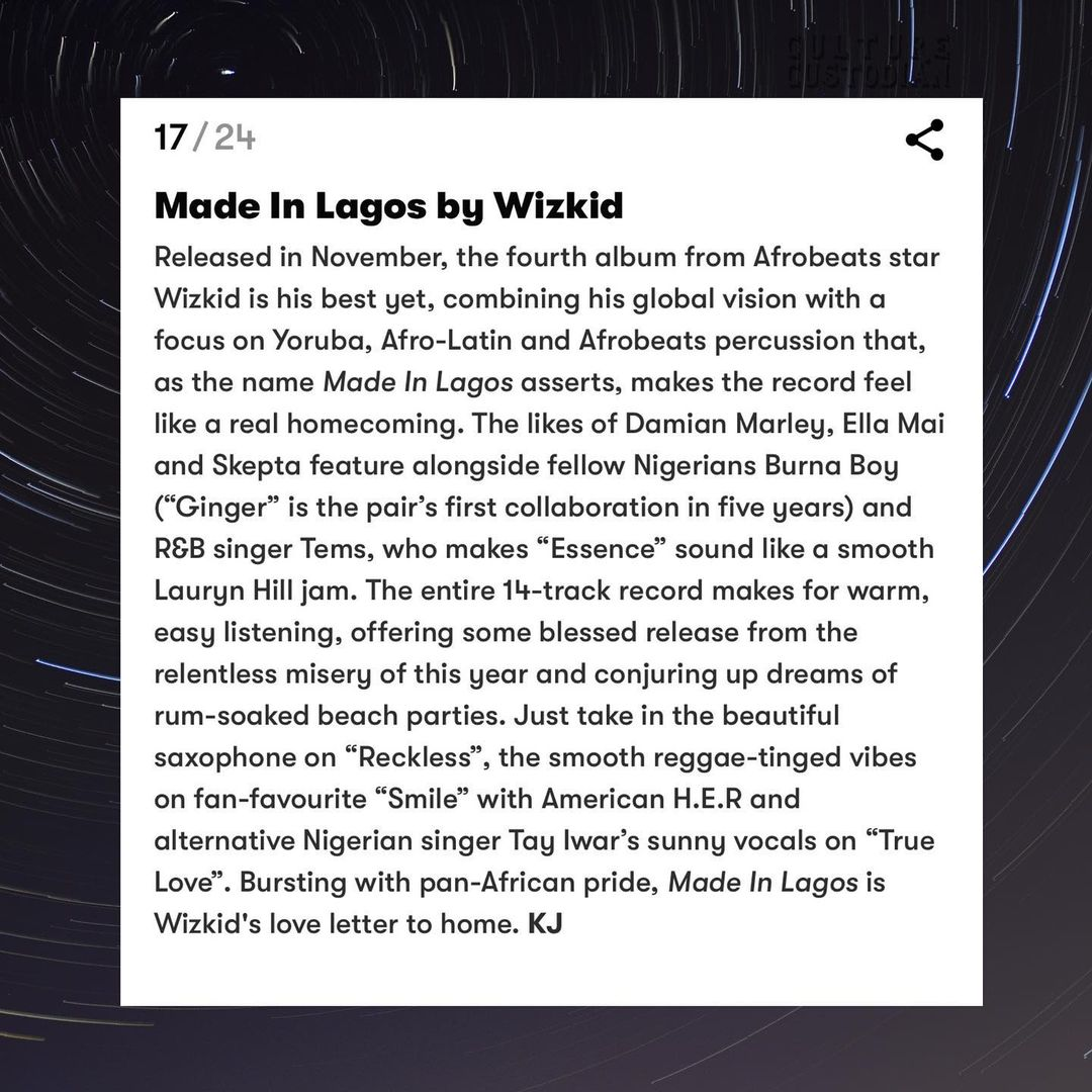 Burna Boy's 'Twice As Tall' and Wizkid's 'Made In Lagos' make British GQ 'Best Albums of 2020'