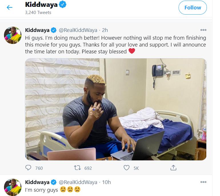 kiddwaya on hospital bed
