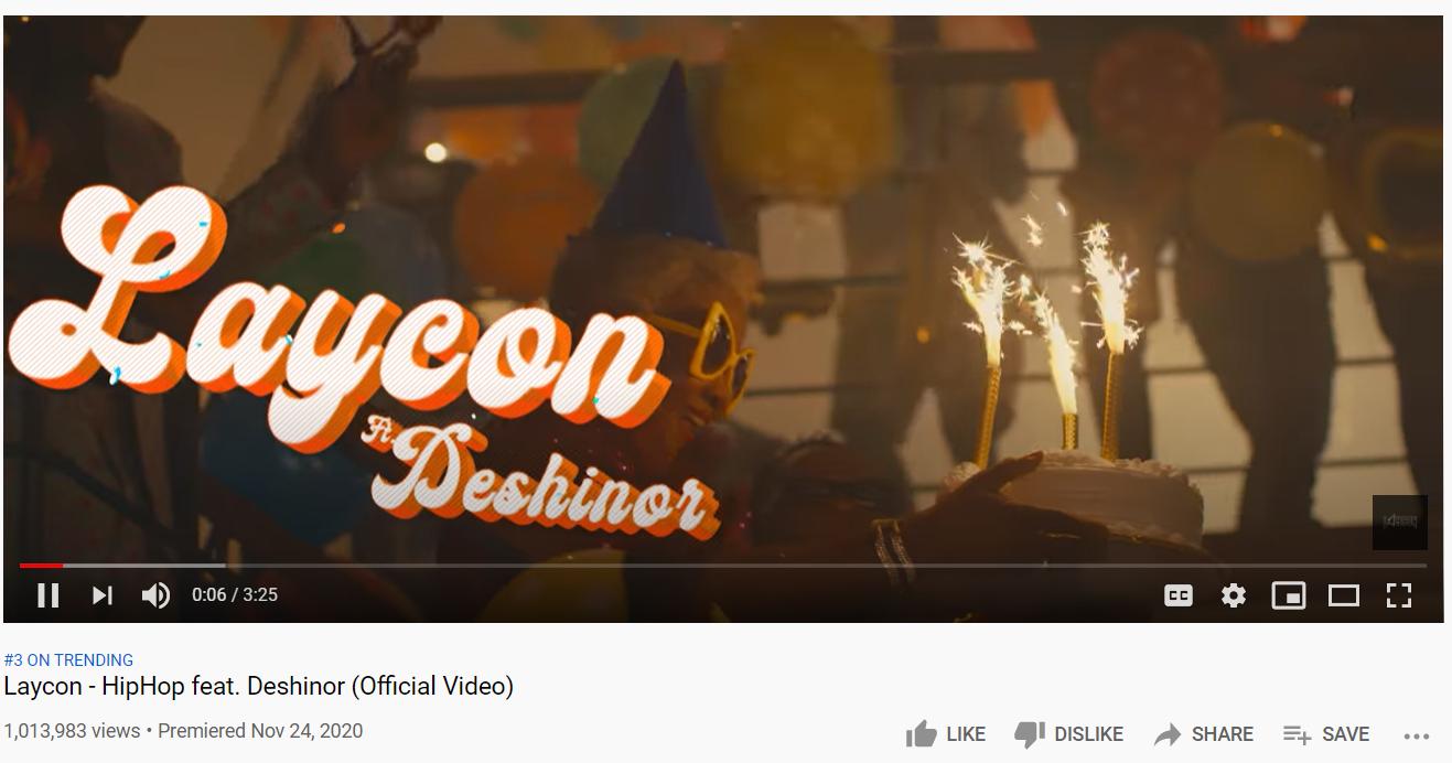 laycon hip hop video reaches one million videos