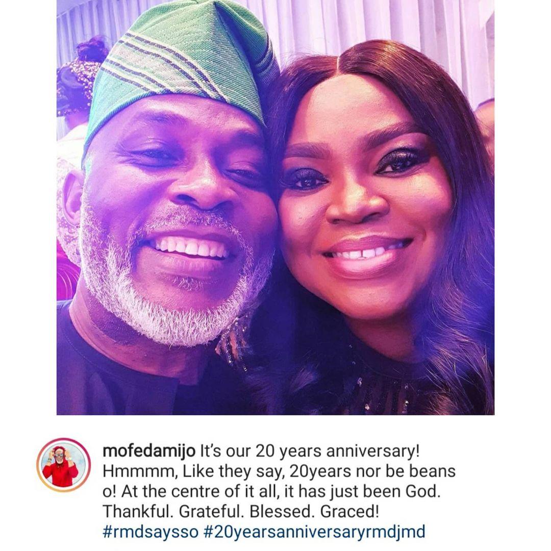 Actor Richard Mofe-Damijo and wife Jumobi celebrates 20th wedding anniversary (Photo)