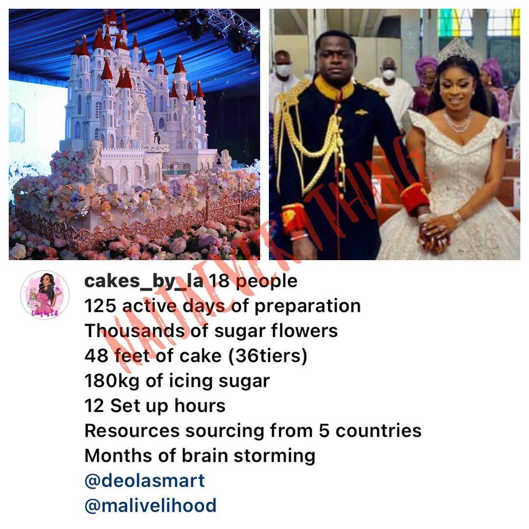 Cost of TontoDikeh's ex,Malivelihood's wedding cake surfaces (Photos)
