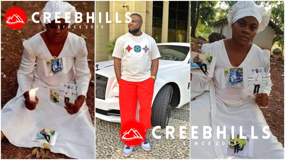 Drama as Nigerian Lady goes spiritual for the release of Hushpuppi (Photos)