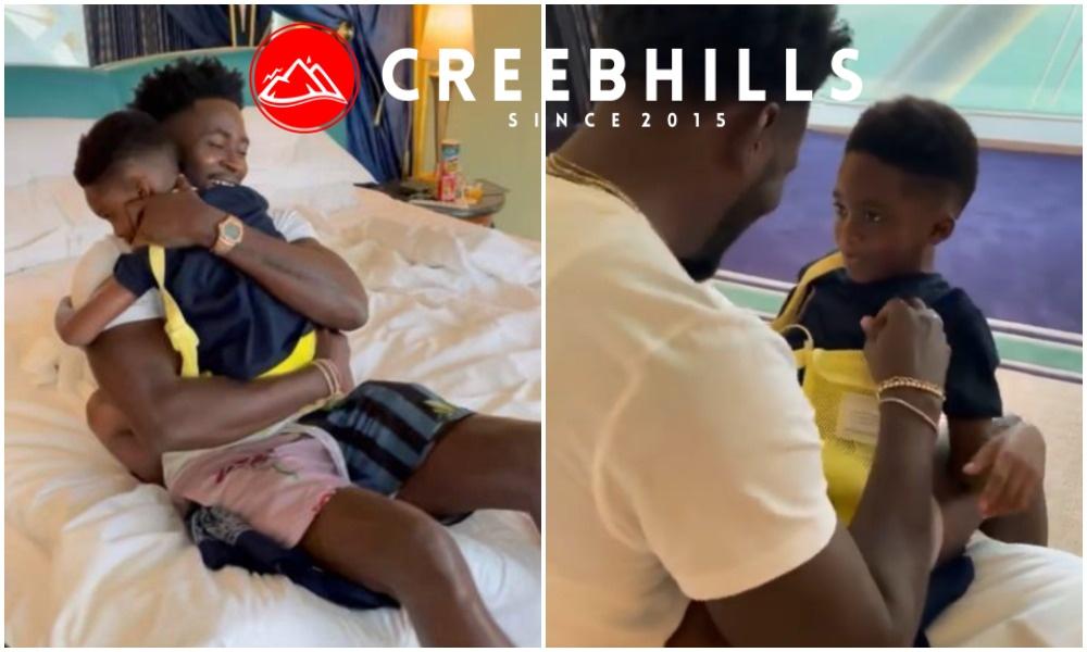 Emotional moment Teebillz reunites with his son Jamil and ex-wife Tiwa Savage in Dubai (Video)