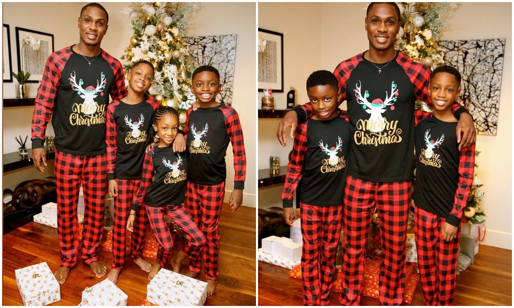 Manchester United star Odion Ighalo shares Christmas photos of himself and his kids