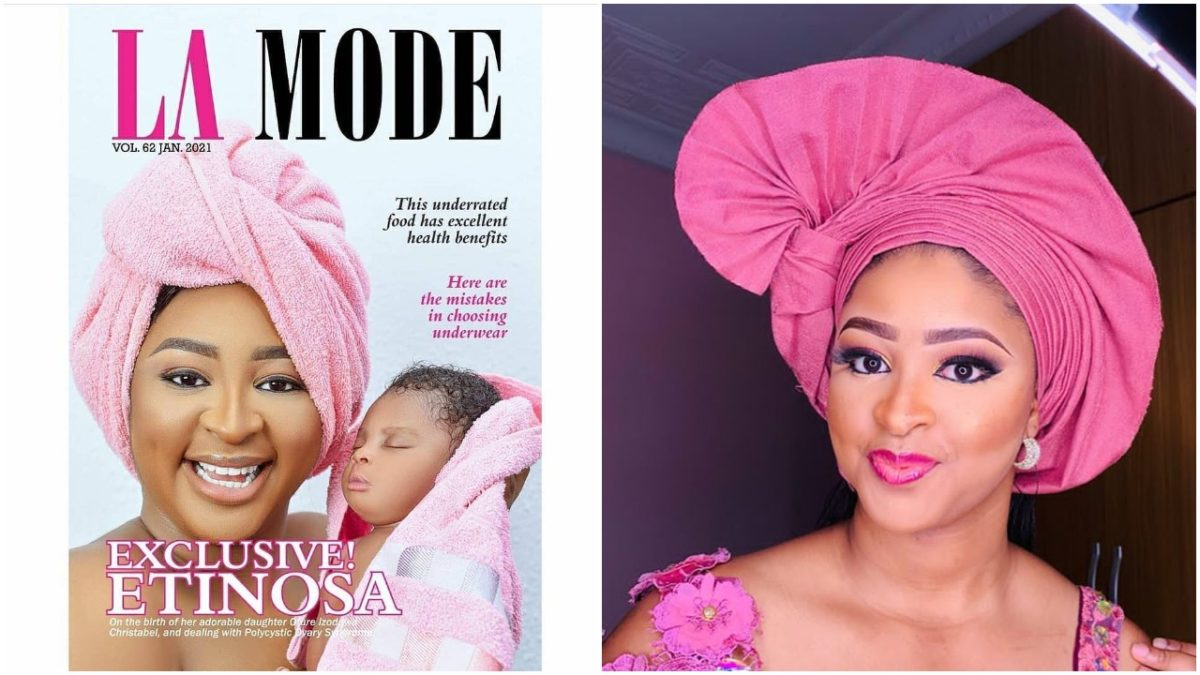 Etinosa unveils her baby girl, Itohan, on the cover of La Mode Magazine  (Photos)