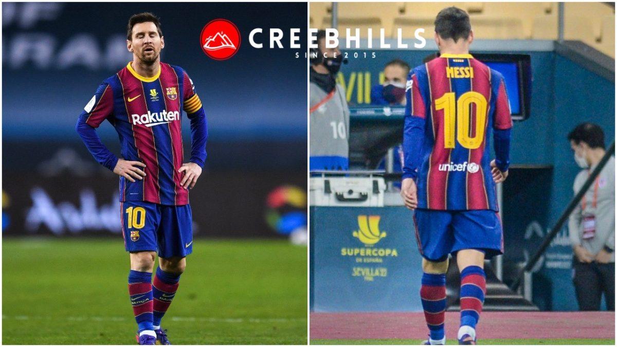 Lionel Messi gets red carded for the first time in his Barcelona Career