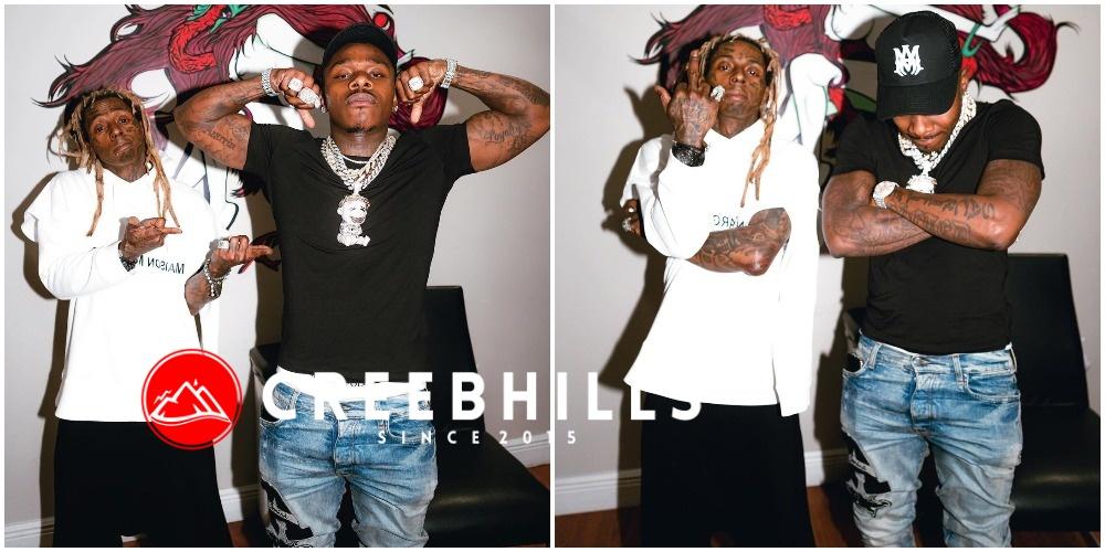 Best Rappers Alive – Da Baby brags as he hit the studio alongside Lil Wayne (Photos)