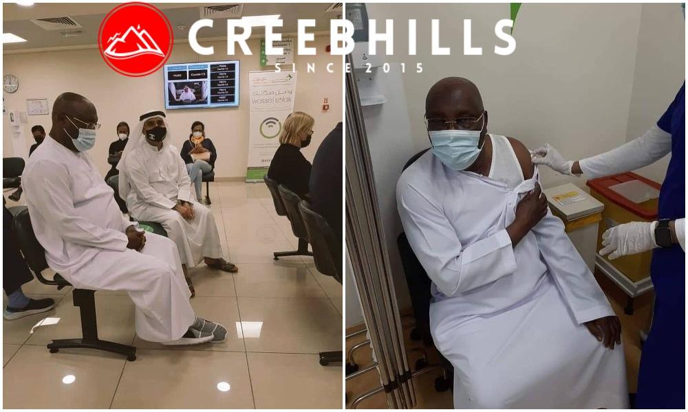 Former Nigerian VP Atiku Abubakar receives COVID-19 vaccine in Dubai (Photos)
