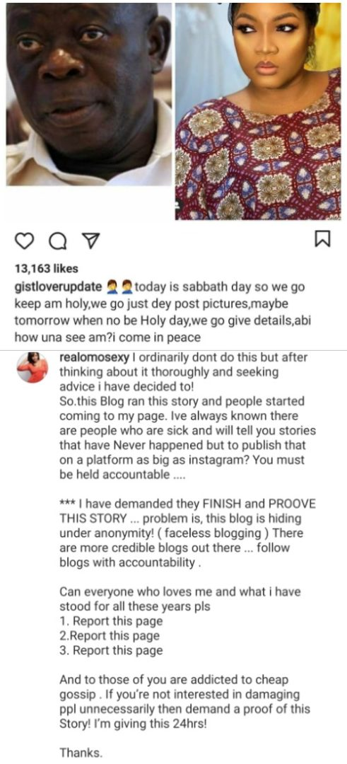Omotola Jalade-Ekehinde calls out popular IG blog who accused her of cheating with Adams Oshiomhole (Read Full Gist)