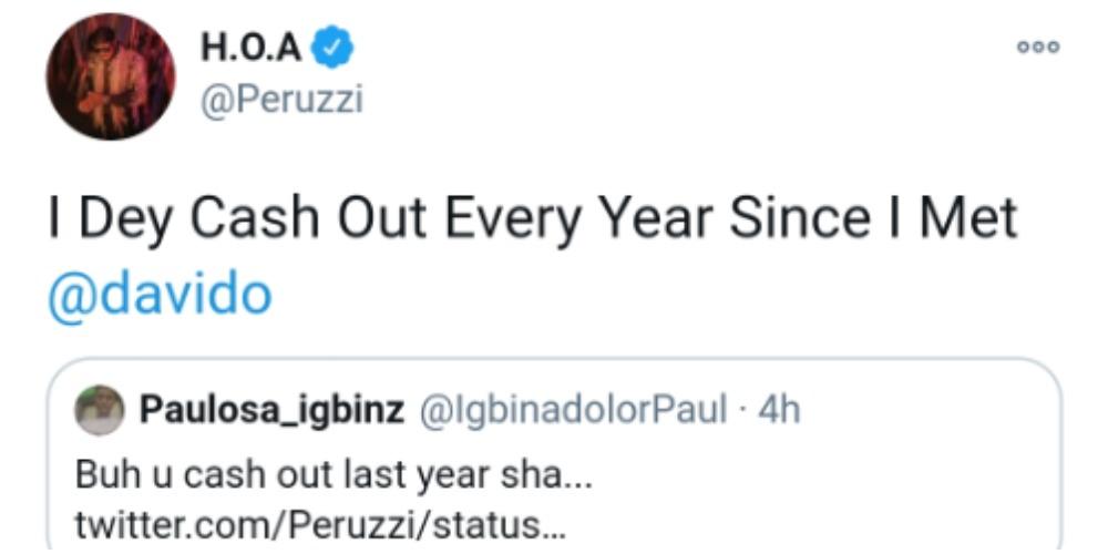 I dey cash out every year since I met Davido – Peruzzi educates a fans (Screenshot)